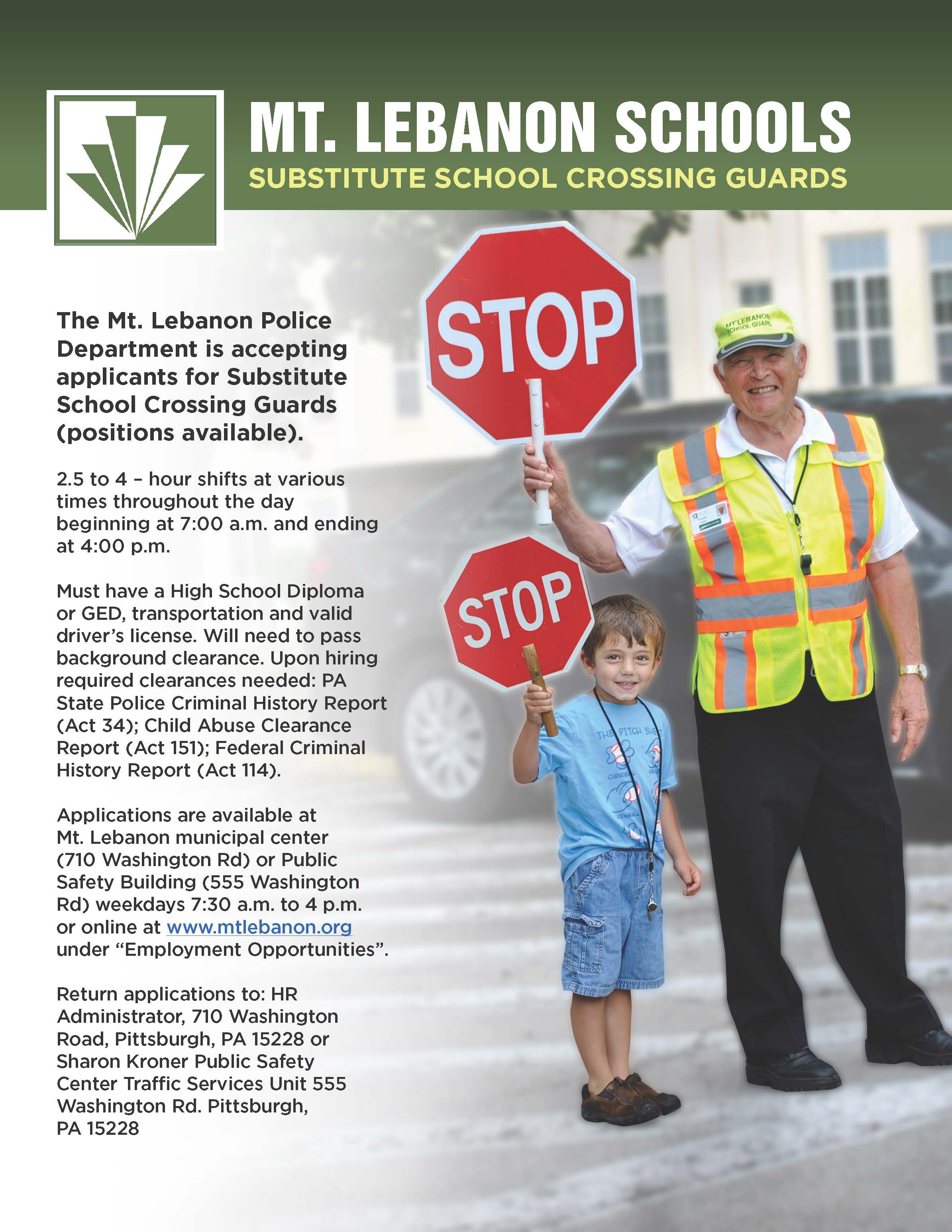crossing guard poster 2019-2020 school year
